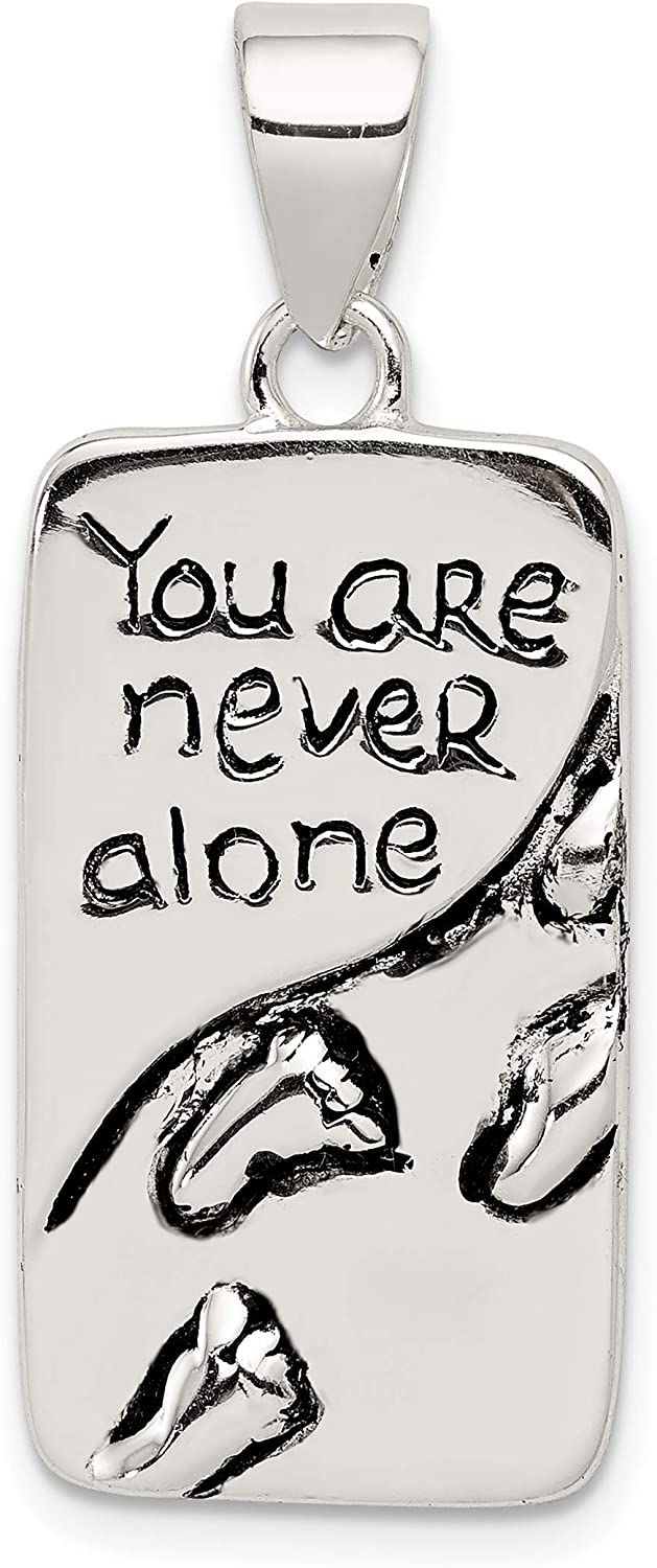 Sterling Silver You Are Never Alone Antiqued Footprint Pendant