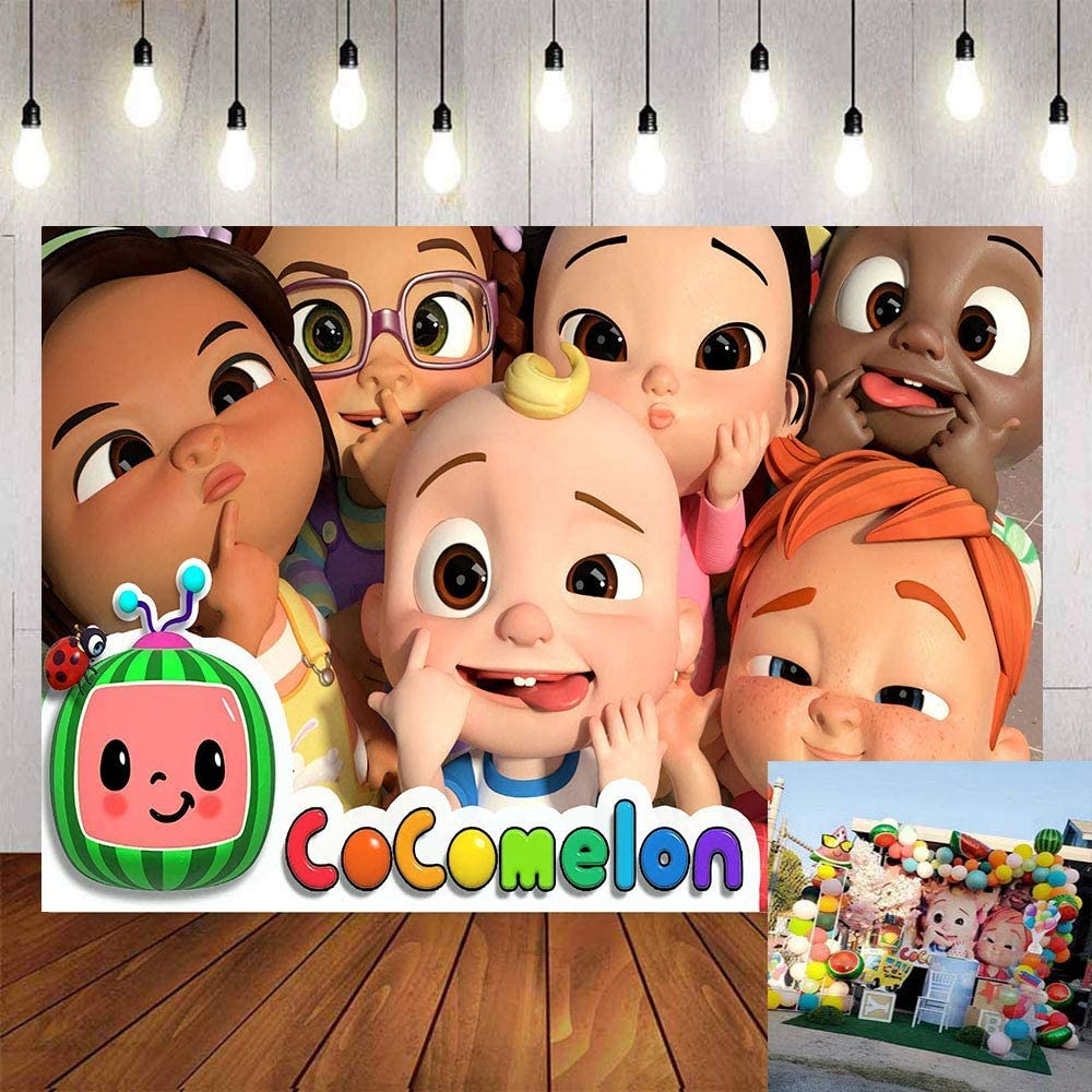 Cartoon Backdrop Banner Cocomelon Theme Photography Background Backdrop Newborn Birthday Party Baby Shower Portrait Photo Backdrop Rainbow Blue Sky and White Cloud YouTube Video Shooting Background
