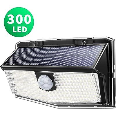 LITOM Luz Solar de Exterior Sensor de Movimiento,300 LED 3 Modos,Iluminación ángulo Ancho de 270°,IP67 Impermeable (1 Unidad)