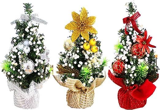 XONOR Mini árbol de Navidad Artificial con Adornos de 3 Piezas: decoración navideña Mesa, los escritorios y su hogar u Oficina: Amazon.es: Hogar