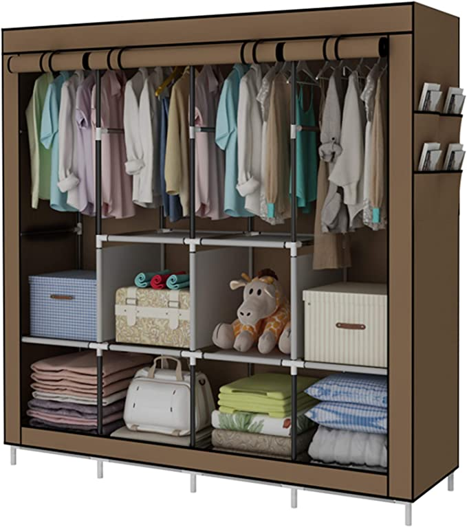 YAYI Portable Wardrobe Clothing Wardrobe Shelves Clothes Storage Organiser With 4 Hanging Rail,Brown: Amazon.co.uk: Kitchen & Home