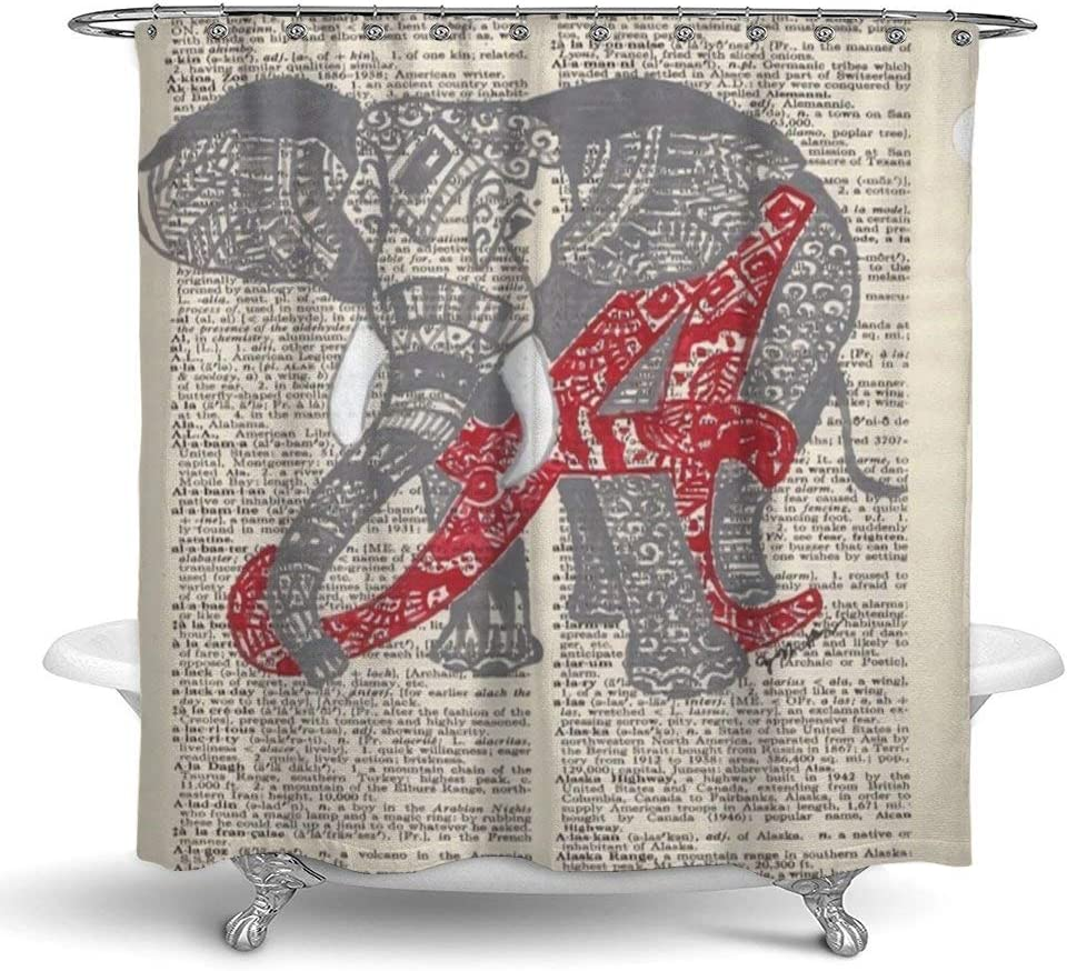 NiYoung Bathroom Shower Curtain with 12 Hooks, Alabama Elephant Bath Curtain Durable Waterproof Polyester Fabric Bathroom Curtain