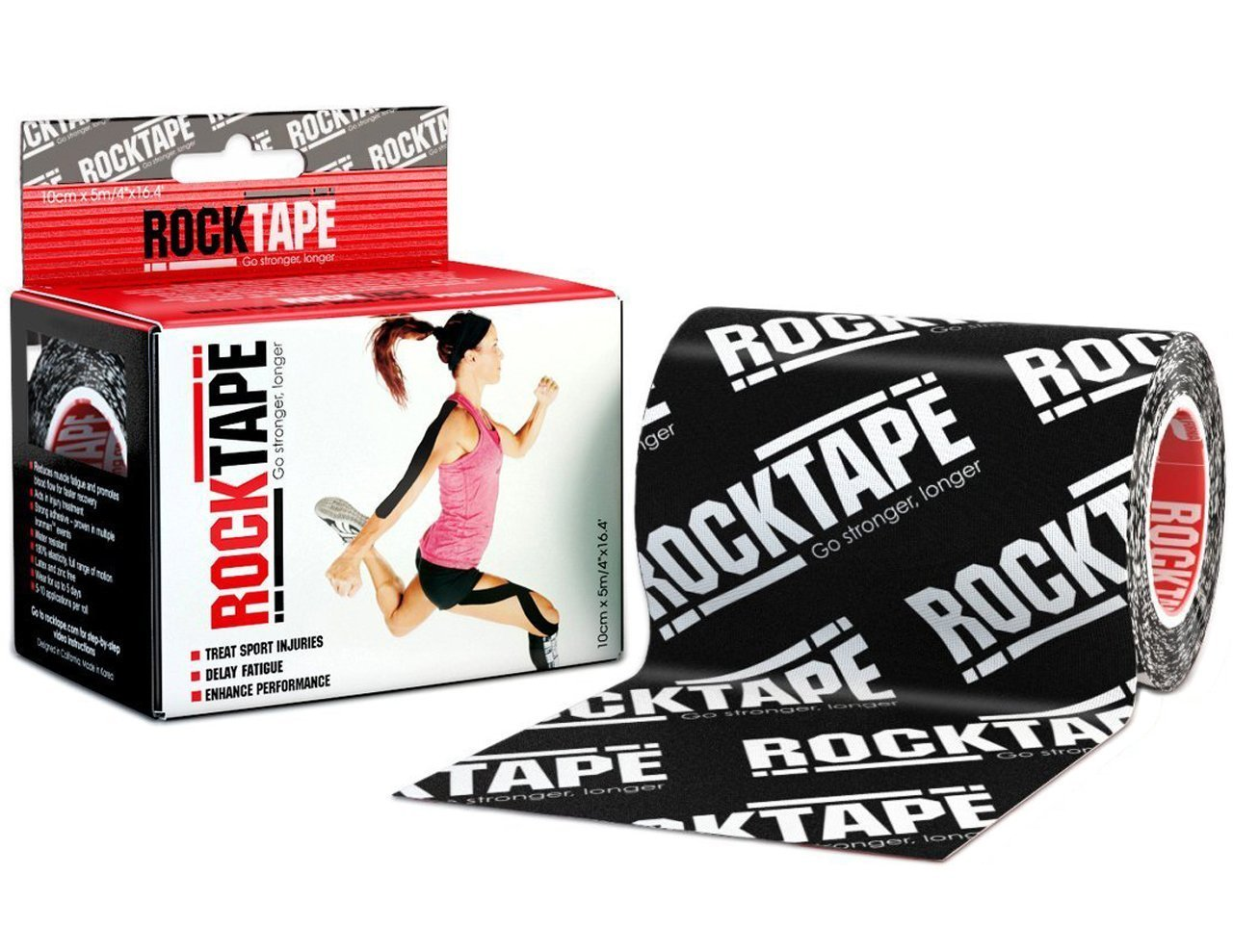 RockTape Active-Recovery Kinesiology Tape for Athletes - Uncut Roll - Extra Wide, Black Logo
