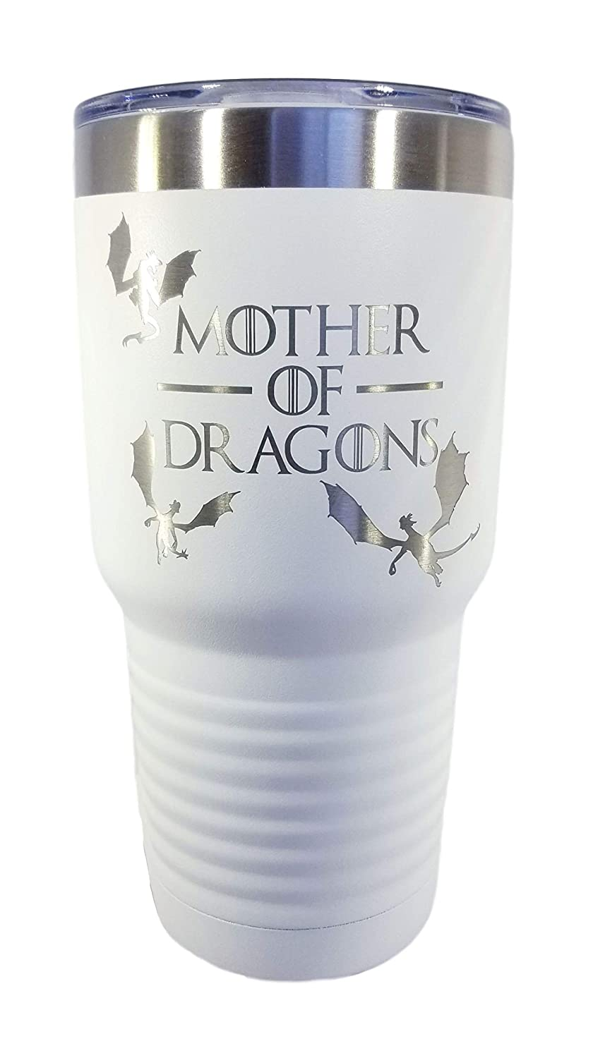 Mother of Dragons by InkPonyArt Game of Thrones Inspired White like Snow Laser Engraved 30 ounce Vacuum Insulated Tumbler Keeps cold drinks cold and warm drinks warm Great gift for all G.O.T fans