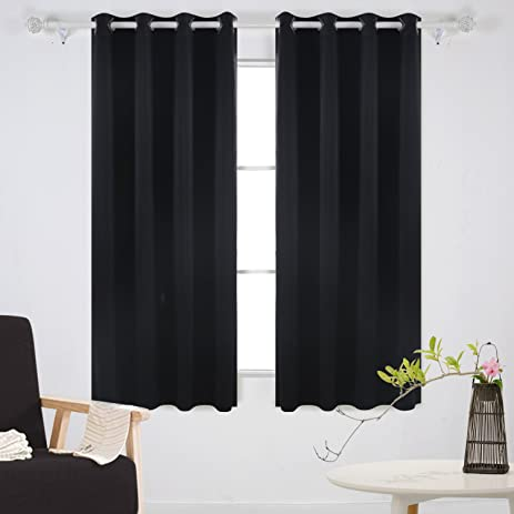 Deconovo Solid Grommet Top Curtains Blackout Curtains Thermal Insulated  Light Blocking Curtains For Bedroom Black 52W