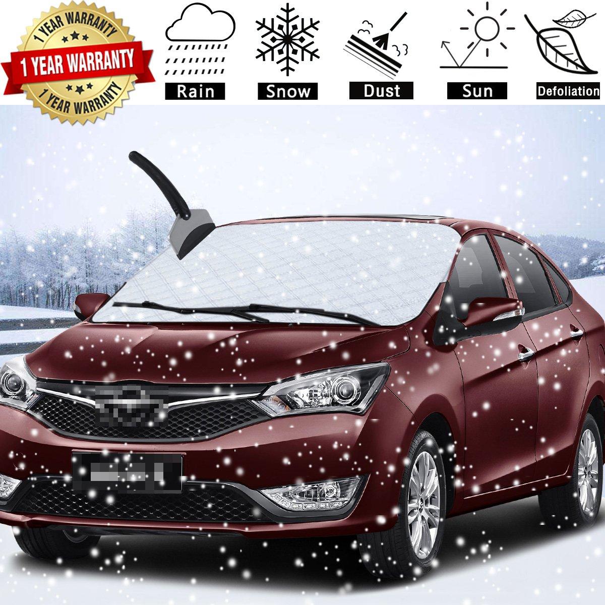 車フロントガラス雪カバー防水/防風/防塵/耐スクラッチ性Frostからデザイン、フロントガラス保護し、ワイパーガードプロテクター、Iceカバーほとんどの車/ SUV、雪、氷とFrost Build Up B077ZQ65FS
