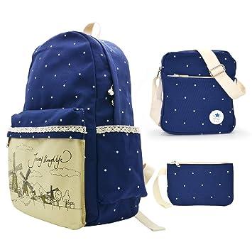 c334ab055c15 College Shoulder Backpacks Student School Book Bag Canvas Laptop  Lightweight Bag Deep Blue