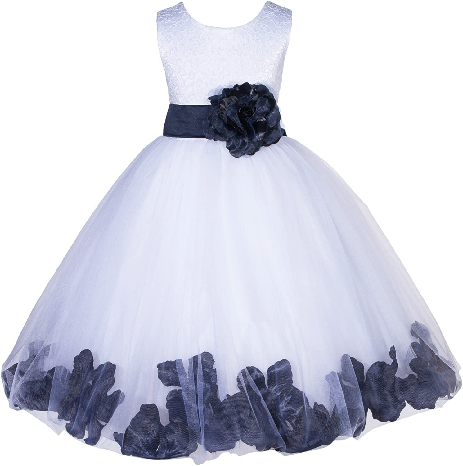 White Lace Top Tulle Floral Petals Flower Girl Dress Christening Dresses 165S