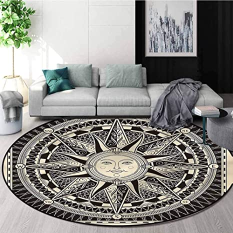 Rugsmat Nautical Round Area Rug Carpet Bohemian Sun And Compass Perfect For Any Room Floor Carpet Diameter 35 Amazon Ca Home Kitchen