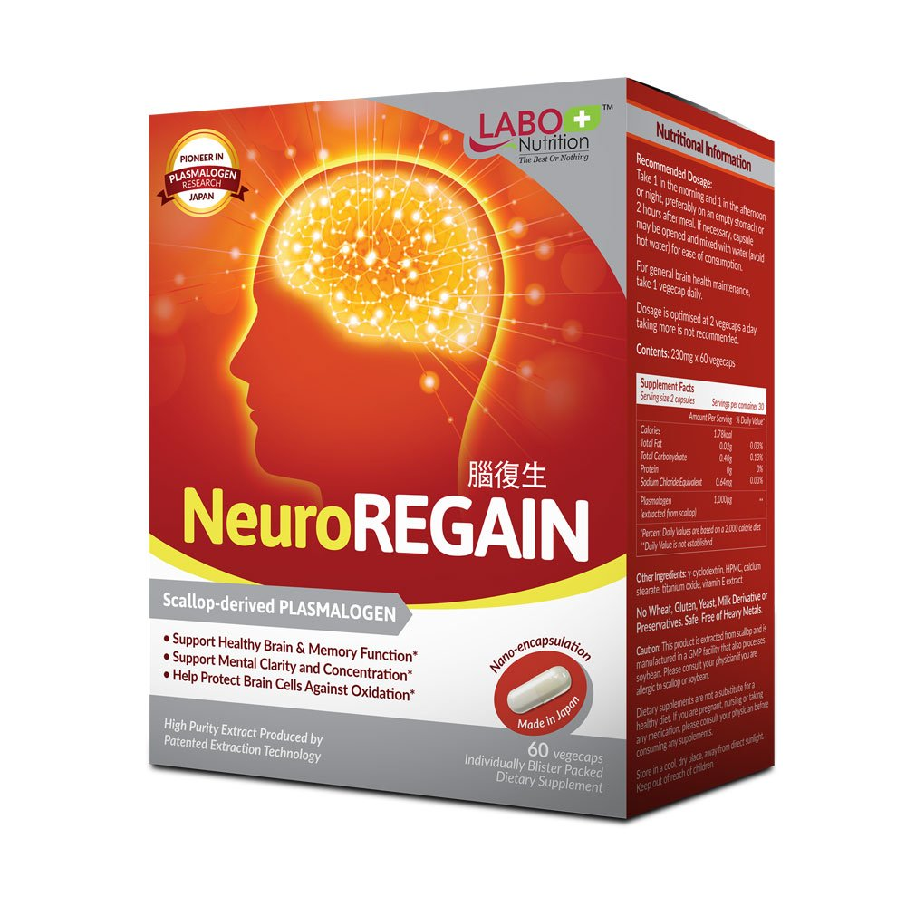 LABO Nutrition NeuroREGAIN - Scallop-derived PLASMALOGEN for Brain Deterioration, Learning, Memory, Alertness, Concentration and Other Cognitive Functions - Suitable for Seniors, Adult Men & Women by LABO Nutrition
