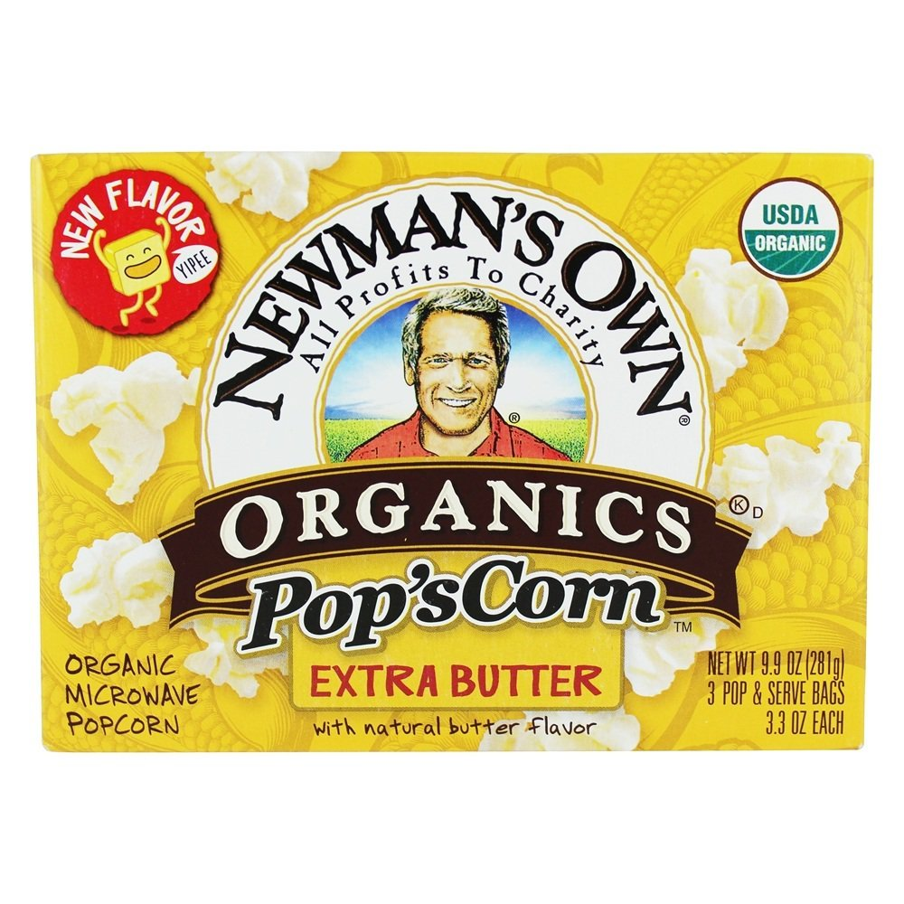 Newman's Own Organics Pop's Corn, Organic Microwave Popcorn, EXTRA Butter, 3-Count, 9.9-Ounce Boxes (Pack of 6)