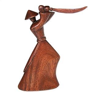 NOVICA Hand Carved Brown Natural Grain Suar Wood Warrior Sculpture, 7.75