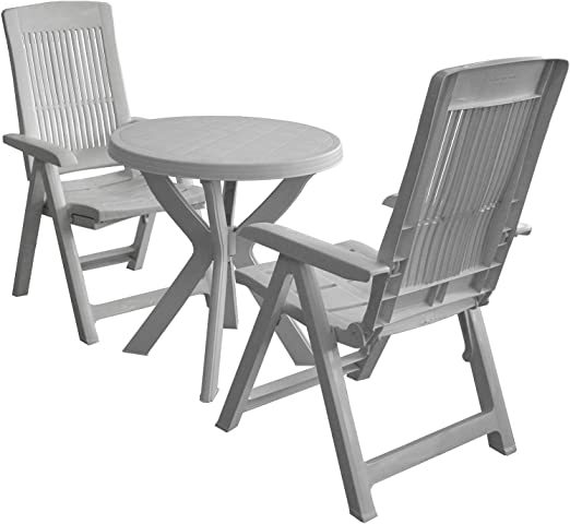 3 piezas. Balcón Juego Plástico Jardín Mesa Redonda + silla ...