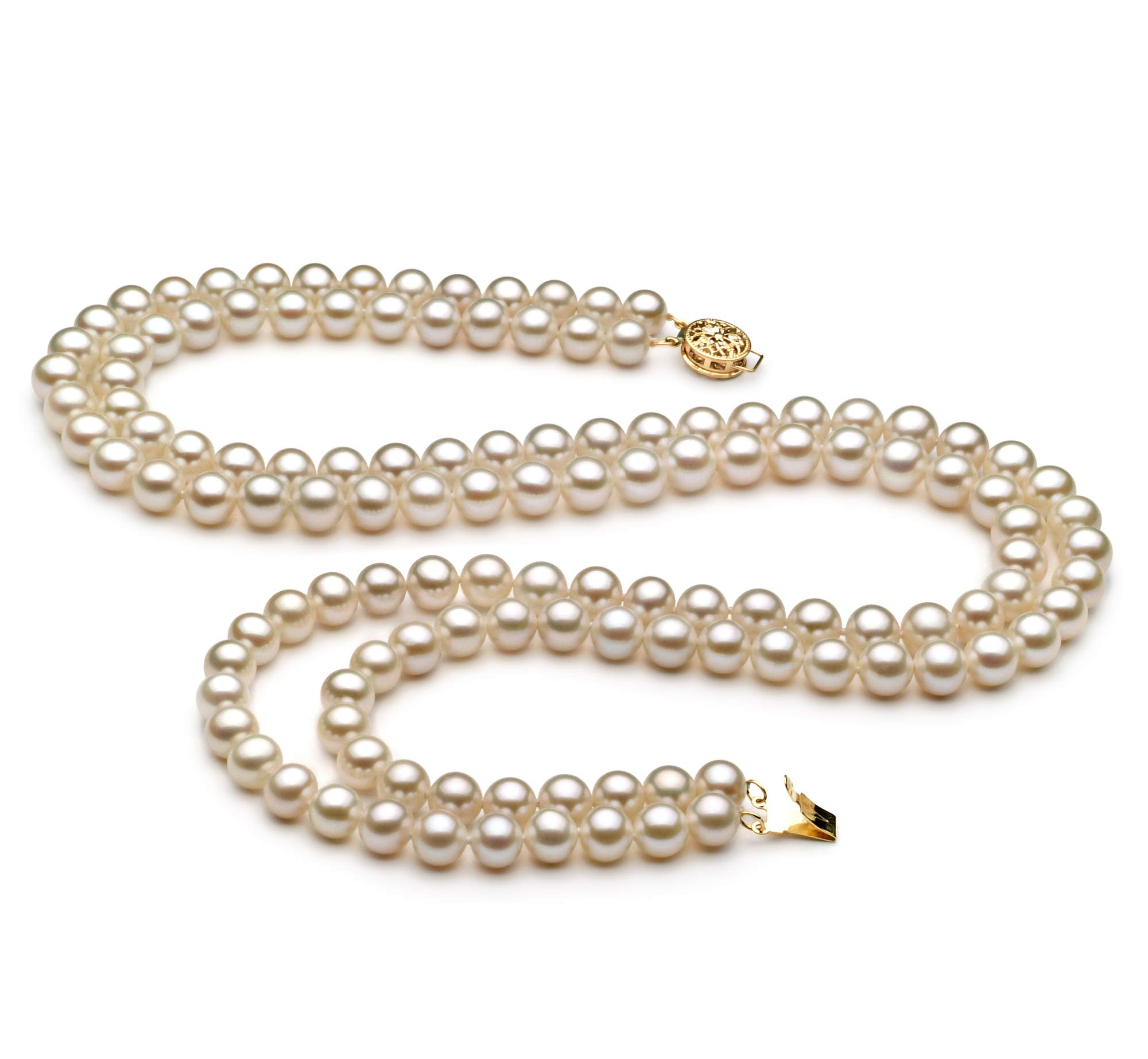 Liah White 6-7mm Double Strand AA Quality Freshwater Cultured Pearl Necklace for Women-23 in Matinee Length