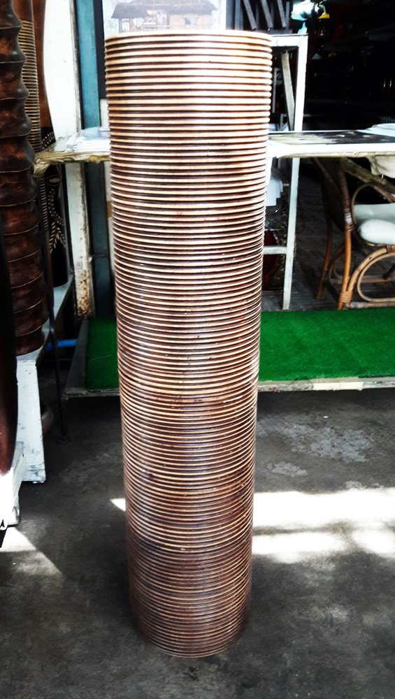 Thailand : Tall 30 inches, Tall brown wood vases,by Skilled Technicians (No 06) From Thailand.