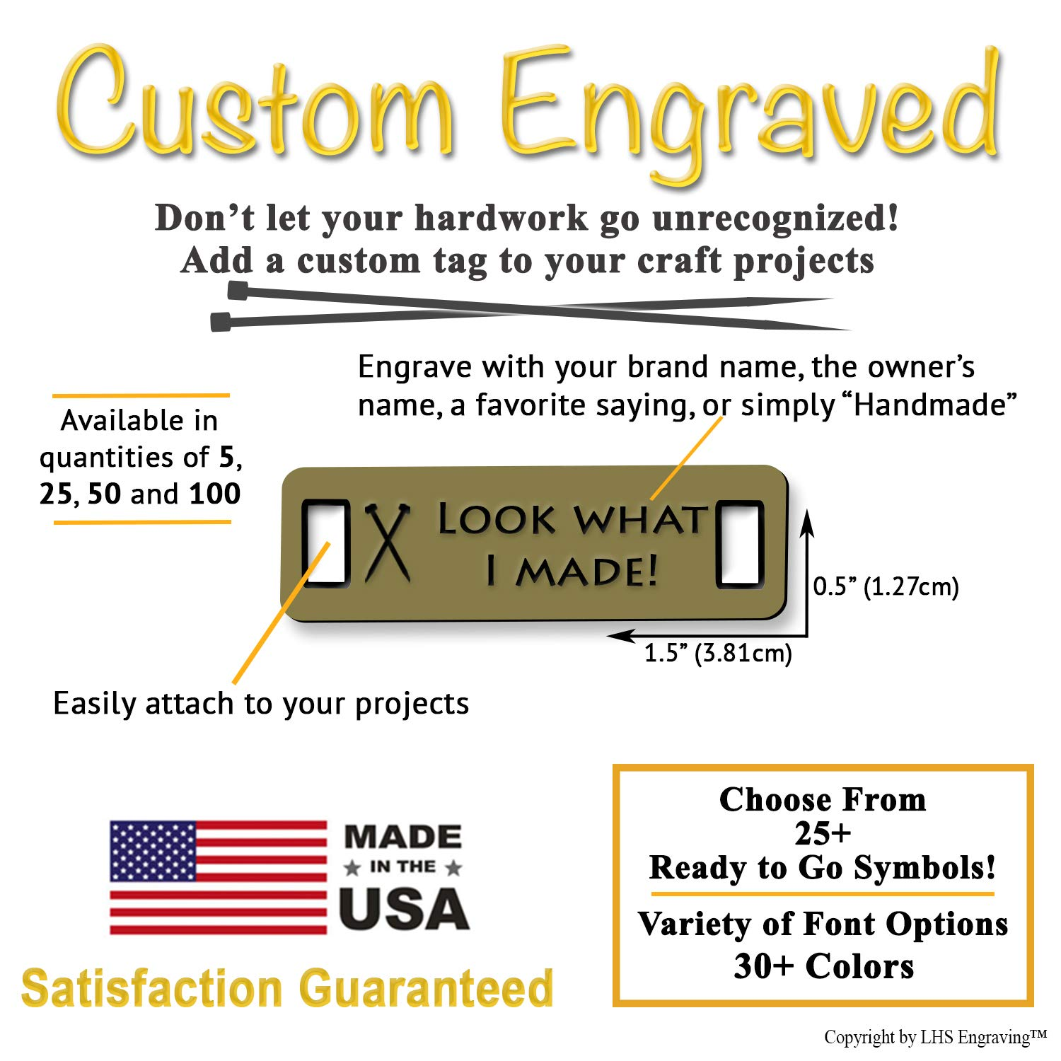 LHS Engraving | Personalized Handmade Tags Custom Engraved Brushed Brass Plastic Sewing & Knitting Notions Black Lettering USA - M6 by LHS Engraving (Image #3)