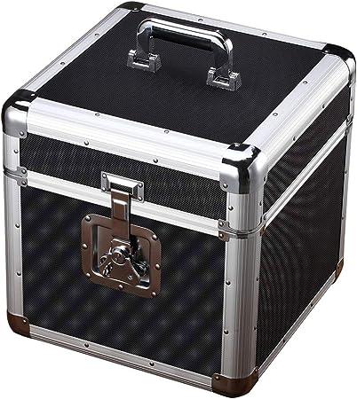 Jinzsnk Estuche para Almacenamiento de CD Clásico Disco de Vinilo del álbum de Almacenamiento Caja de Aluminio de LP Tocadiscos Cajas for Records 35.5x35.5x37cm (Color : Black, Size : 35.5X35.5X37CM): Amazon.es: Hogar