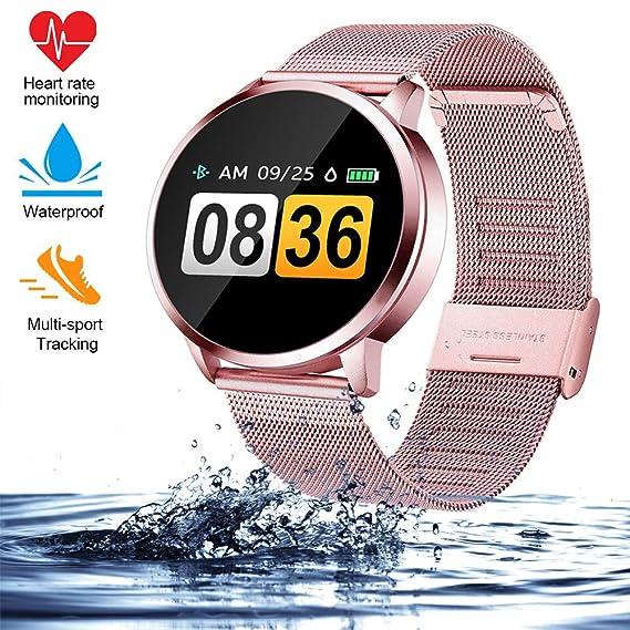 Smart Watch Q8 2019, para Hombres Mujeres al Aire Libre Reloj Deportivo Inteligente, Sleep Sleep & Blood Pressure, Monitor de Ritmo cardíaco Contador ...
