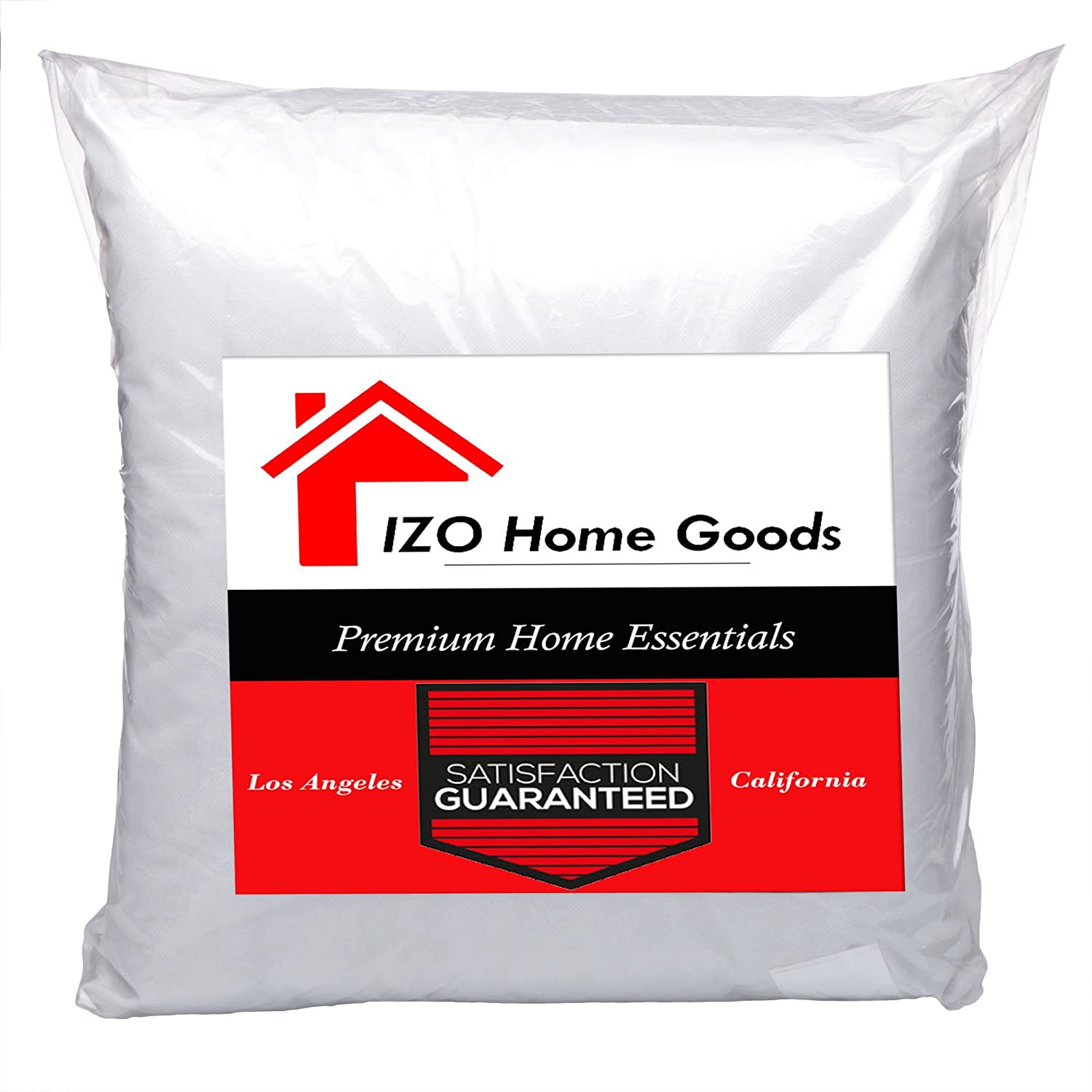 IZO Home Goods Square Hypo-allergenic Polyester Filled Throw Pillow Form Insert, 22 W x 22 L 22 W x 22 L