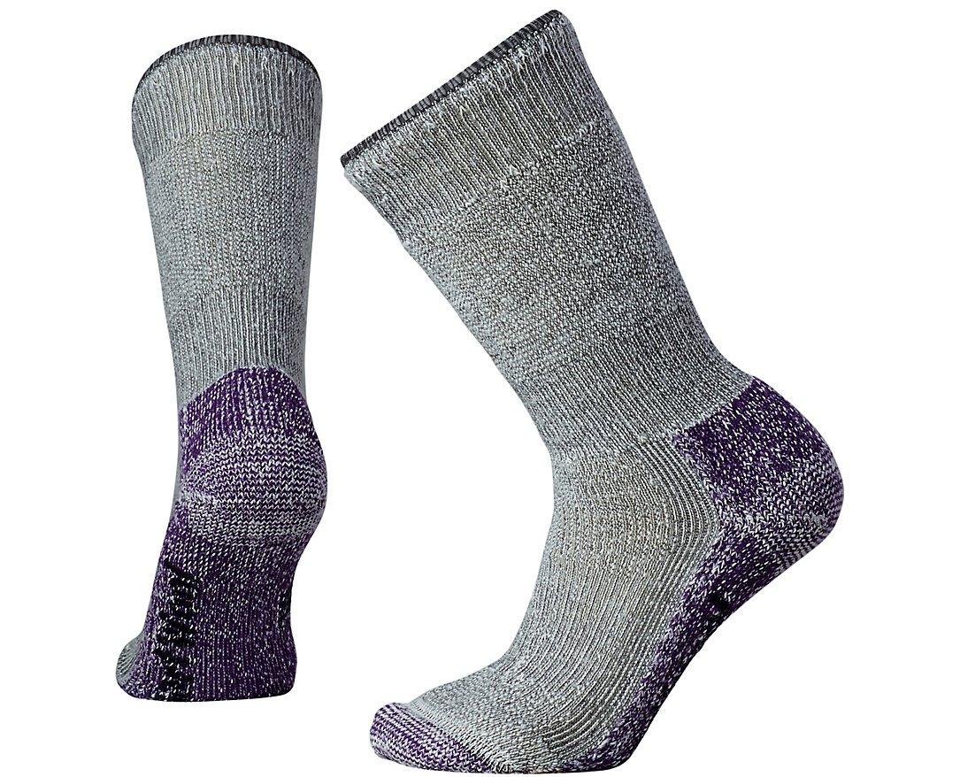 SmartWool Women's Mountaineering Extra Heavy Crew Socks (Medium Gray/Mountain Purple) Medium