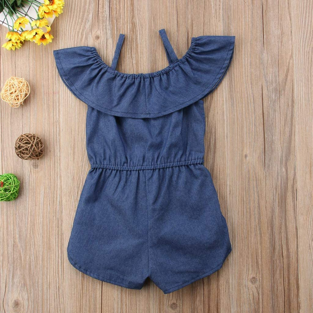 Cuekondy Toddler Baby Girls Kids 2019 Summer New Off Shoulder Ruffles Striped Denim Romper Jumpsuit Playsuit Overalls