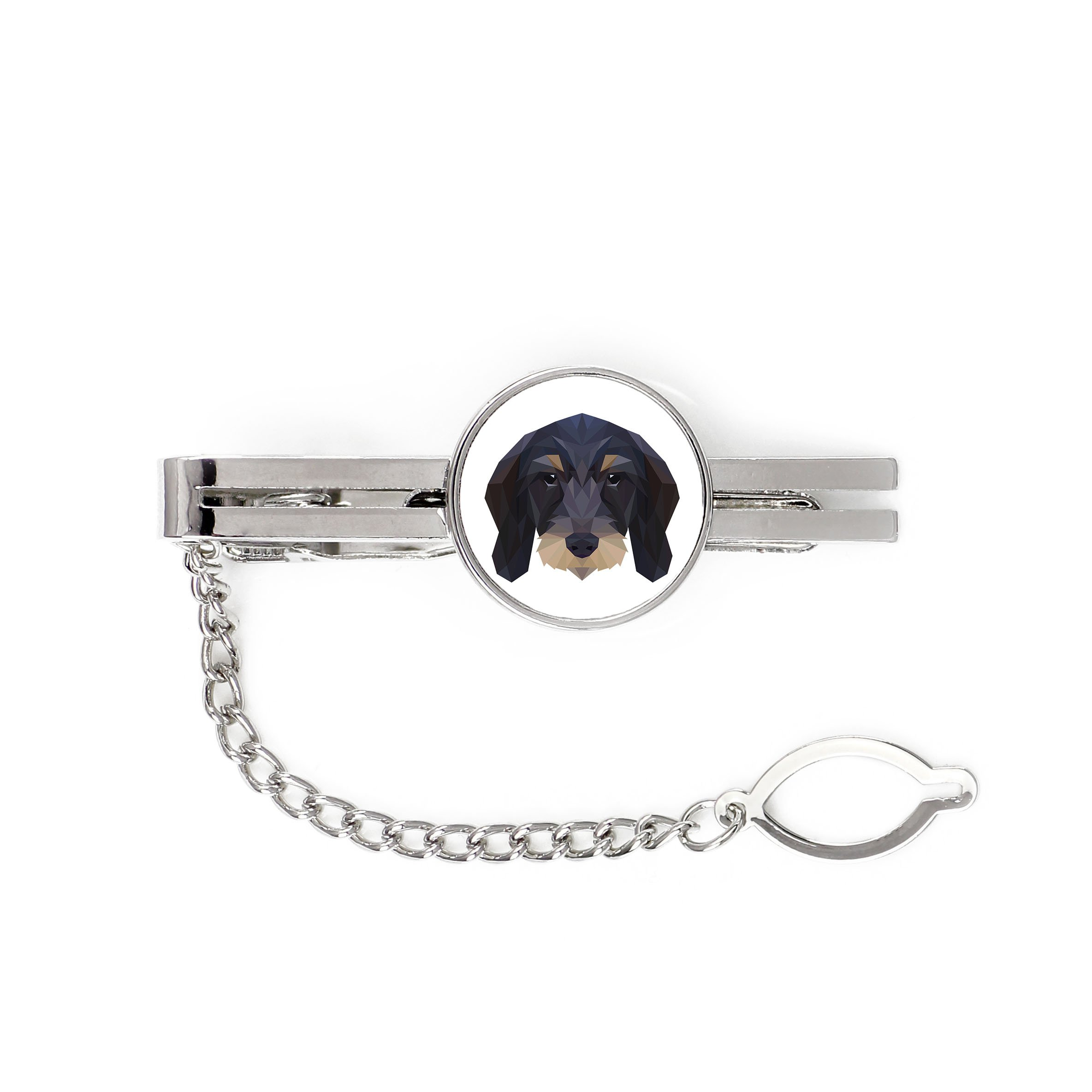 Dachshund Wirehaired, tie pin, clip with an image of a dog, elegant, geometric