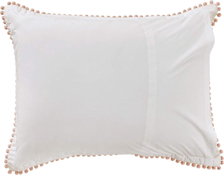 """Brand – Rivet Pom-Pom Duvet Comforter Cover Set, Full / Queen, 90"""" x 90"""", Blush: Home & Kitchen"""
