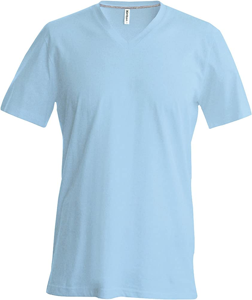 Kariban - Camiseta Básica Entallada con Cuello de Pico de Manga ...