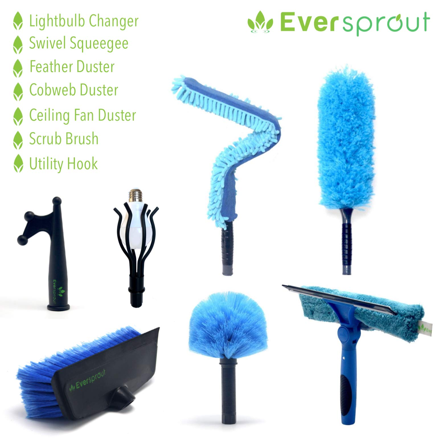 EVERSPROUT Total Kit | Scrub Brush, Light Bulb Changer, Utility Hook, Swivel Squeegee, 3X Microfiber Duster Head Attachments (Cobweb, Flexible Ceiling Fan, Feather) by EVERSPROUT