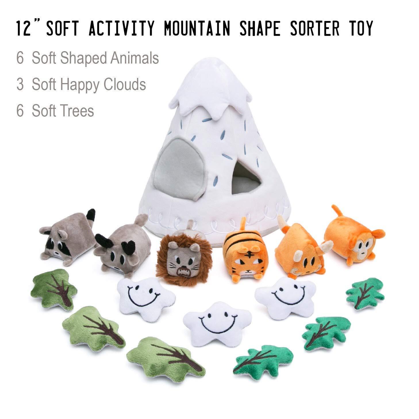 OK!DZO 12'' Mountain & Animal Shape Sorter Plush Developmental Toy Set (16 pcs)- Cognitive & Motor & Social Skills- Fun Bright Colors & Textures for Babies 0-36 Months by OK!DZO (Image #2)