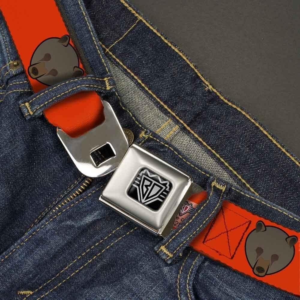 32-52 Inches in Length Buckle-Down Seatbelt Belt 1.5 Wide Brown Bear Repeat Orange