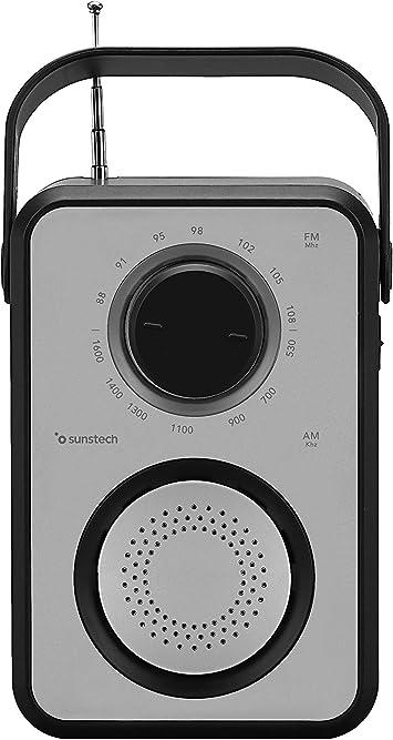 Sunstech RPR1170 - Radio Multifuncional portátil (Antena telescópica, Puerto USB, Micro SD y aux-in), Color Plata y Negro