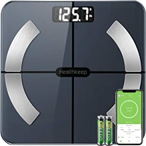 Scales for Body Weight Healthkeep Bathroom Scale Smart Wireless Digital Scale with Body Fat%, High Precision Measurements Body Composition Analyzer with Smartphone App 396 lbs
