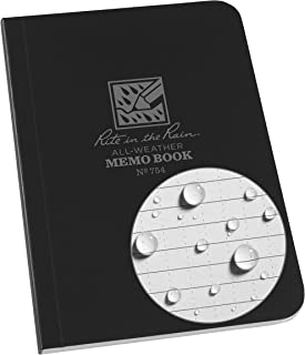"""product image for J.L. Darling Rite in The Rain Weatherproof Soft Cover Pocket Notebook, 3.5"""" x 5"""", Black Cover, Universal Pattern (No. 754), 5 x 3.5 x 0.25"""