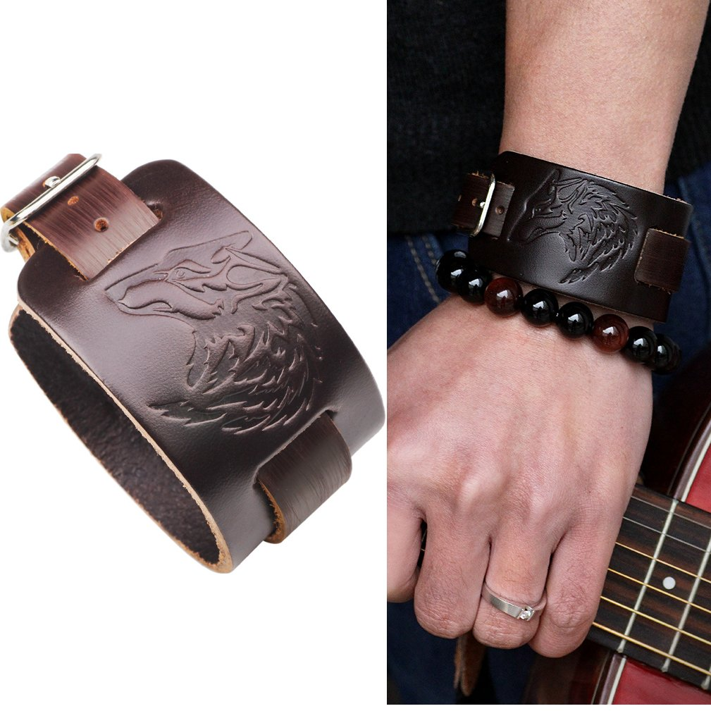 4EAELove Punk Style Leather Bracelet Genuine Leather Wolf Head Wristbands Bracelet Wide Belt Cuff Bangle by 4EAELove (Image #1)