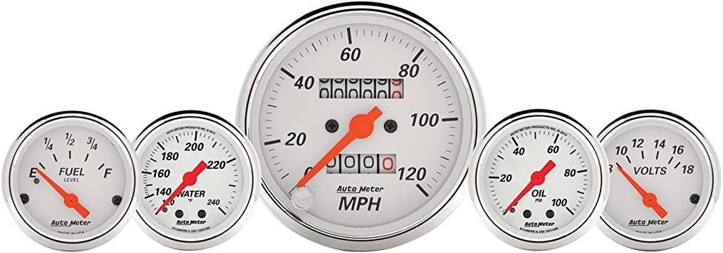 Auto Meter 1811 Antique Beige Fuel//Oil//Speedo//Volt//Water 5 Gauge Set