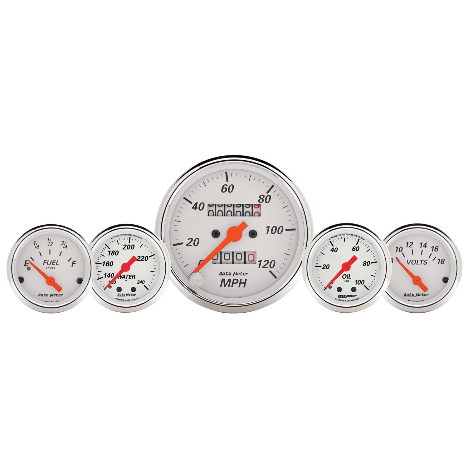 Auto Meter 1311 Arctic White Fuel/Oil/Speedo/Volt/Water 5 Gauge Set