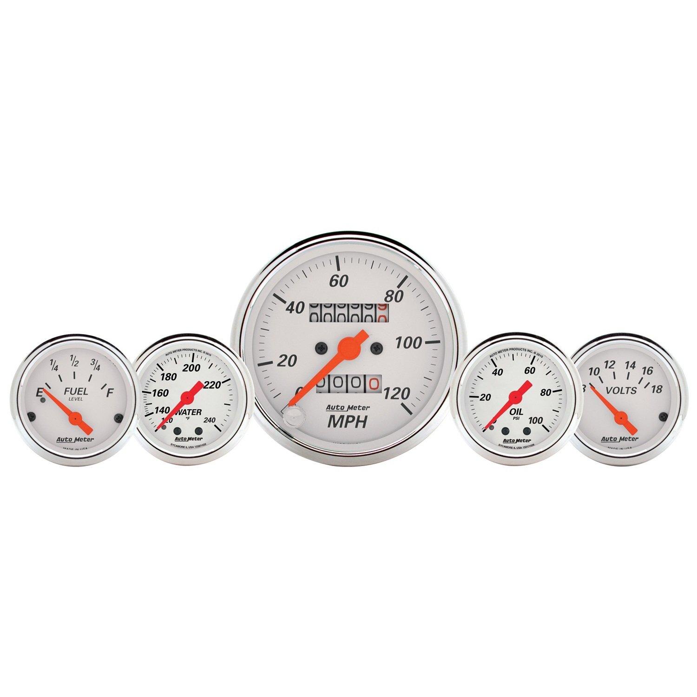Auto Meter 1311 Arctic White Fuel/Oil/Speedo/Volt/Water 5 Gauge Set