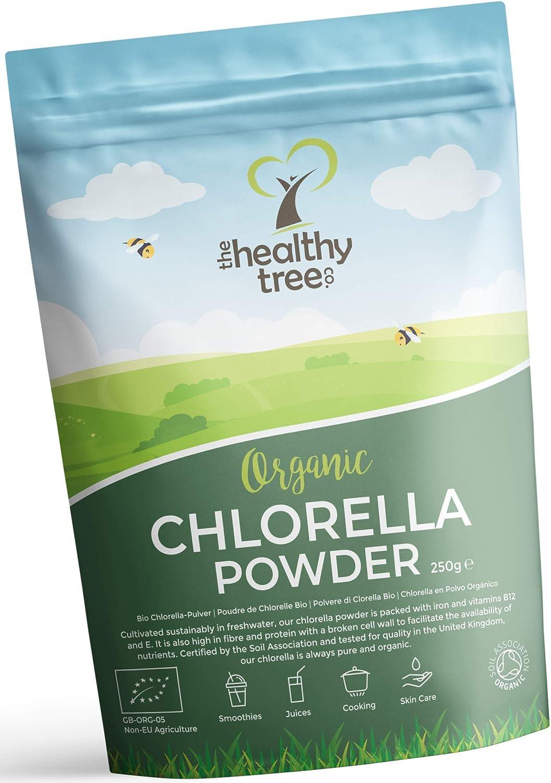 Chlorella en Polvo Orgánico de TheHealthyTree Company para Zumos y Batidos Veganos - Alto en B12, Proteína y Hierro - Certificado por el Reino Unido ...