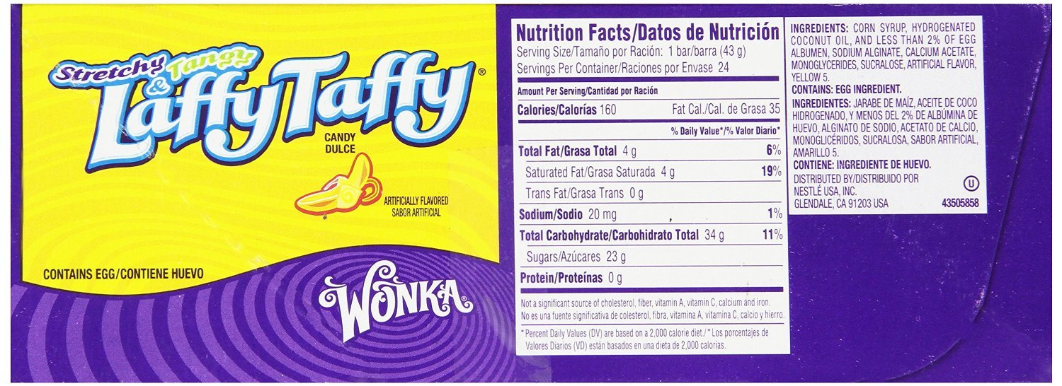Amazon.com : Wonka Laffy Taffy Banana, 1.5 Ounce Bars (Pack of 24) : Taffy Candy : Grocery & Gourmet Food