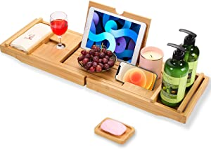 Bamboo Bathtub Caddy Tray ,Adults Expandable Bathtub Tray, Beautiful Gift Box, Fits Any Tub Bath - Holds Book, Wine, Phone, Ipad, Laptop