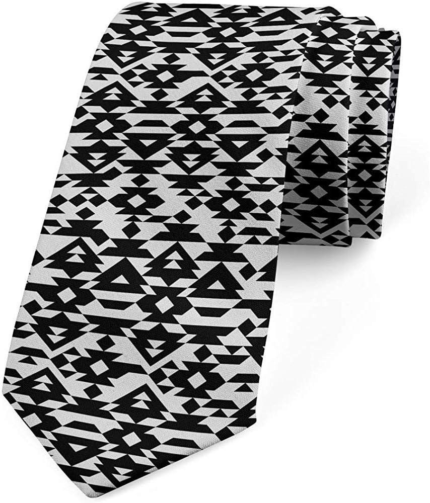Corbata, triángulos con motivos mexicanos, gris pálido y negro ...