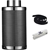G HYDRO 6 Inch Air Carbon Filter with Australia Virgin Activated Charcoal Prefilter Included Odor Control Scrubber for Grow Tent Indoor Plants Inline Fan, Reversible Flange 6 x 18 Inch 425 CFM, Silver
