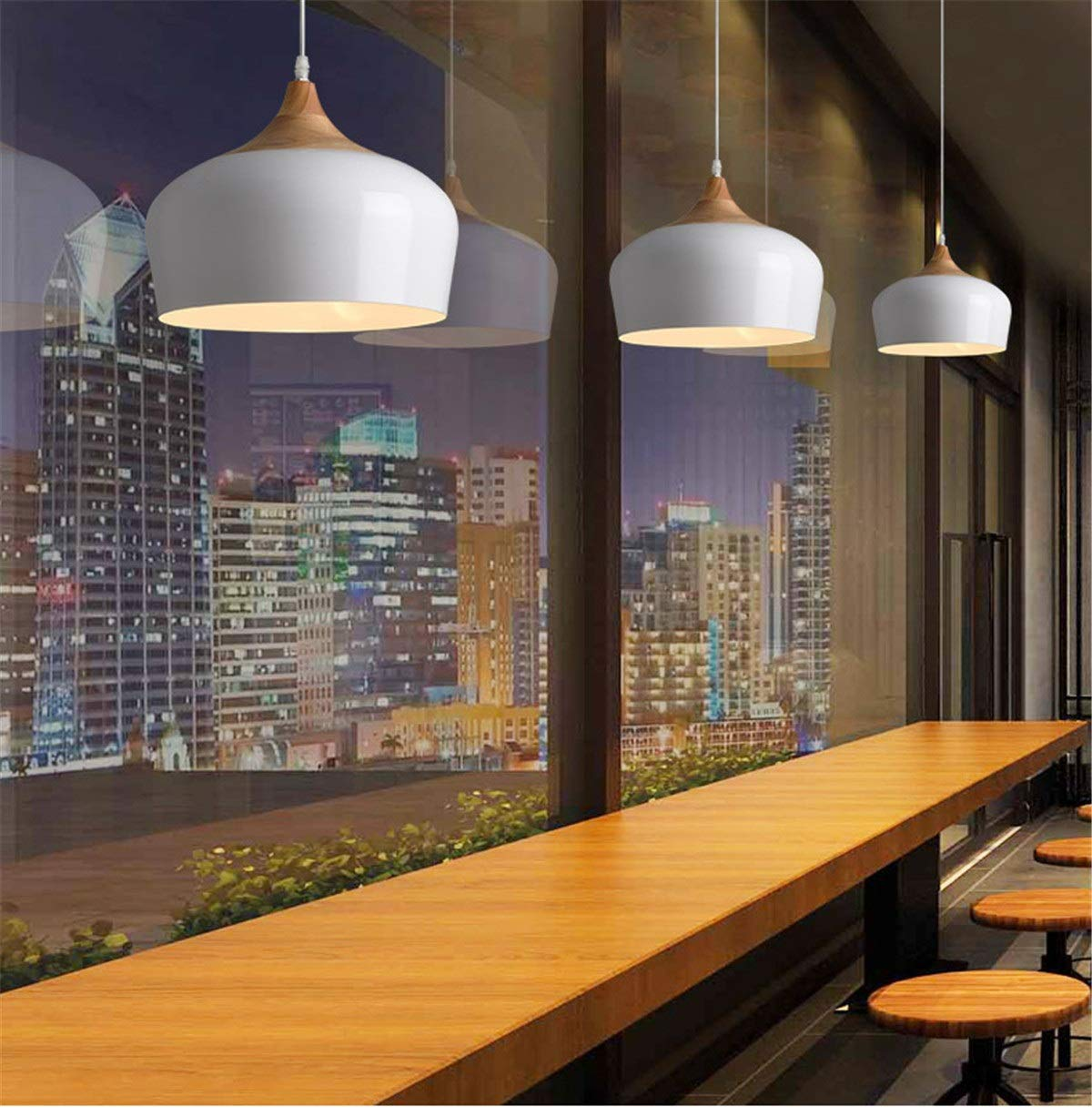 White Cool White White Cool White LL Nordic Creative Personality Single Head Chandelier Retro Bucket Creative Cafe Restaurant Solid Wood Aluminum Creative Lighting led Light Night (color   White, Size   Cool White)