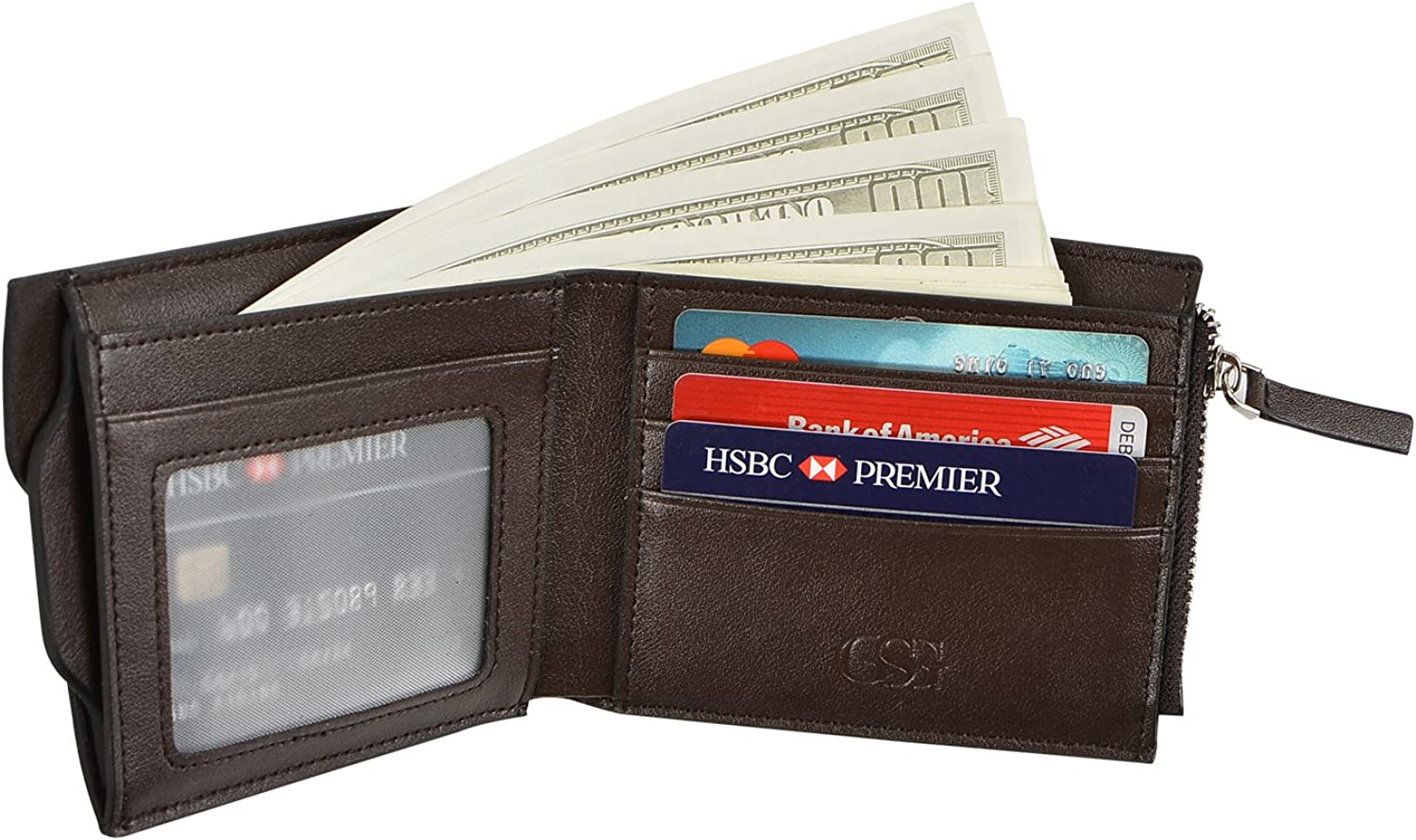GSG Xmas Gifts Mens Crazy Horse Wallets Bifold Cowhide Card Holder Money Clip