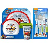 Paw Patrol Teamwork' 6-Piece Dinner and Cutlery Set | Tumbler, Bowl, Plate, Knife, Fork and Spoon