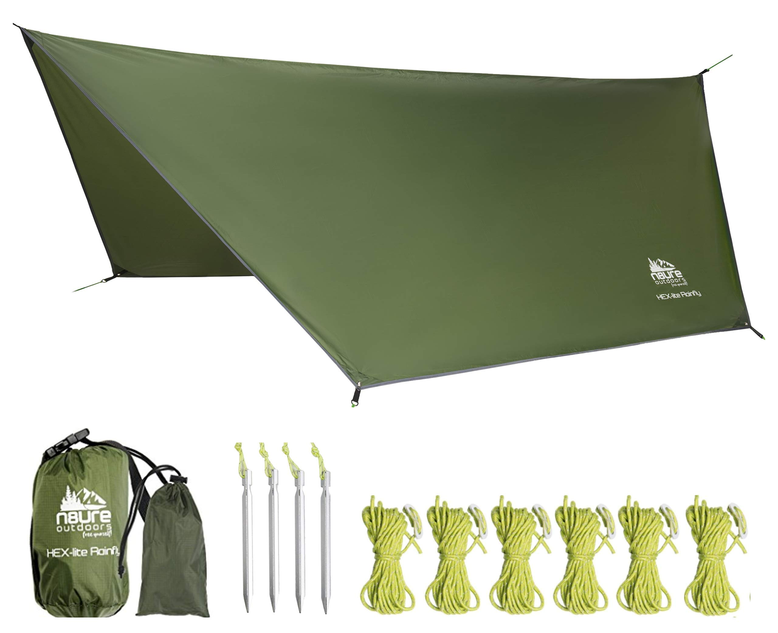 Camping Rain Fly Tarp 12'x10' Hex Ultra Light Ripstop Nylon Water Proof Outdoor Tent Shelter Backpacking Hiking Travel Bushcraft Survival Gear Includes Stakes Ropes Stuff Sack by N8URE Outdoors