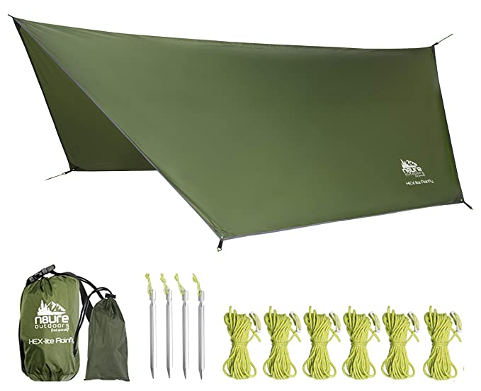 Camping Rain Fly Tarp 12'x10' Hex Ultra Light Ripstop Nylon Water Proof Outdoor Tent Shelter Backpacking Hiking Travel Bushcraft Survival Gear Includes Stakes Ropes Stuff Sack