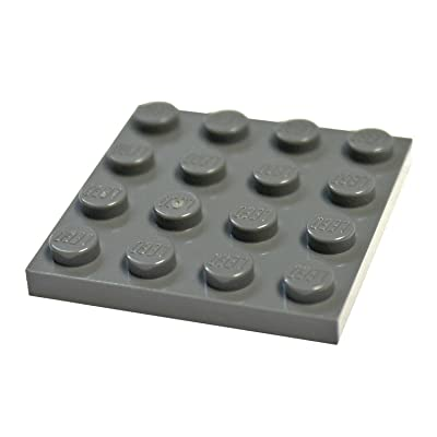 LEGO Parts and Pieces: Dark Gray (Dark Stone Grey) 4x4 Plate x20: Toys & Games