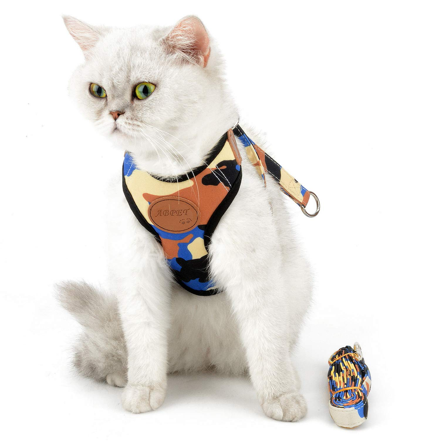 SMALLLEE_LUCKY_STORE Blue Yellow Black Camo Cat Harness and Leash Set Escape Proof for Walking Boy Soft Mesh Padded Adjustable No Pull Small Puppies Kitten Dog Haness Vest Easy On Outside,Large